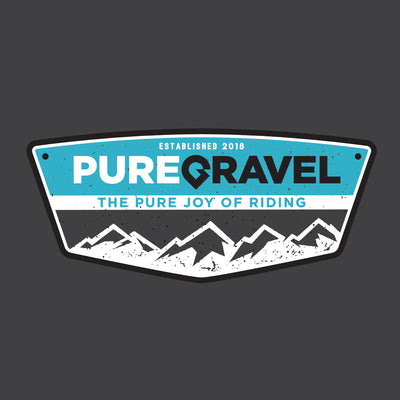 Pure Gravel t-shirt: badge on grey: design