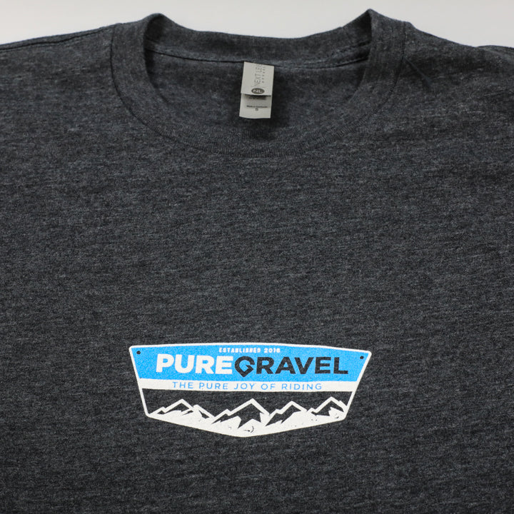 Pure Gravel t-shirt: badge on grey: front