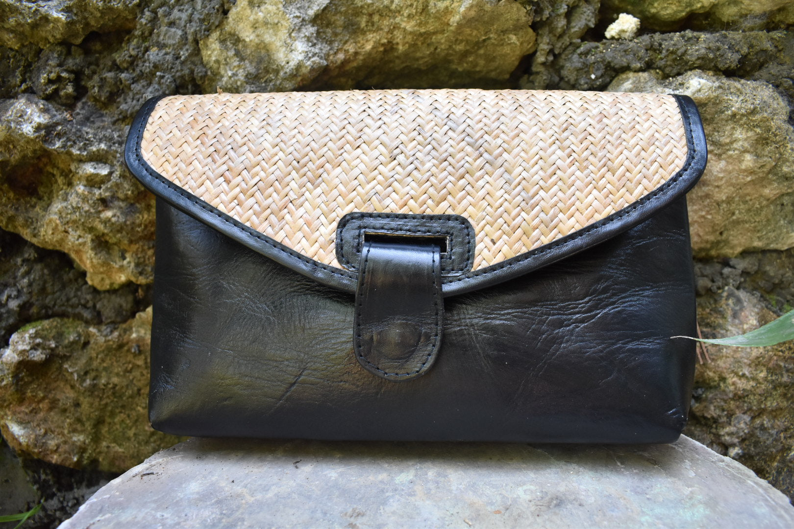 Leather Rattan Clutch