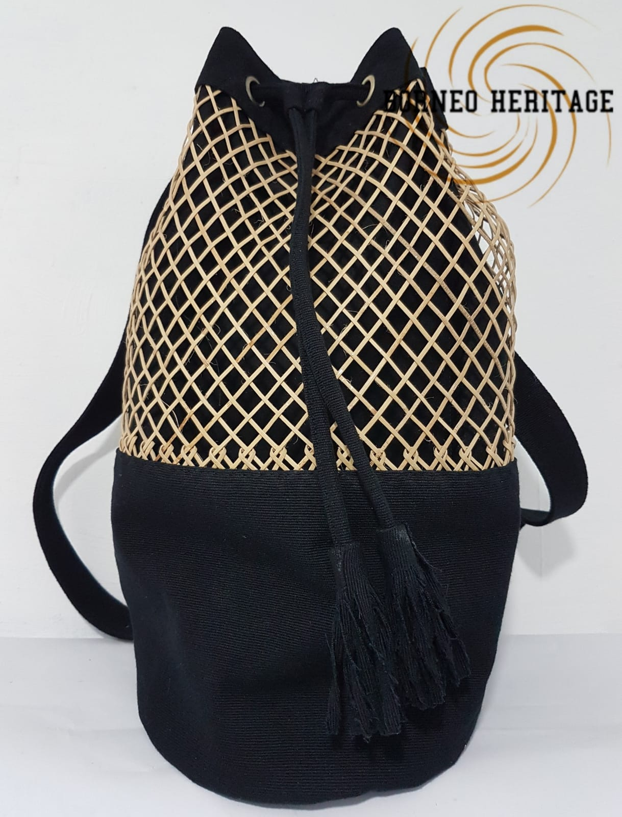Canvas Rattan Backpack