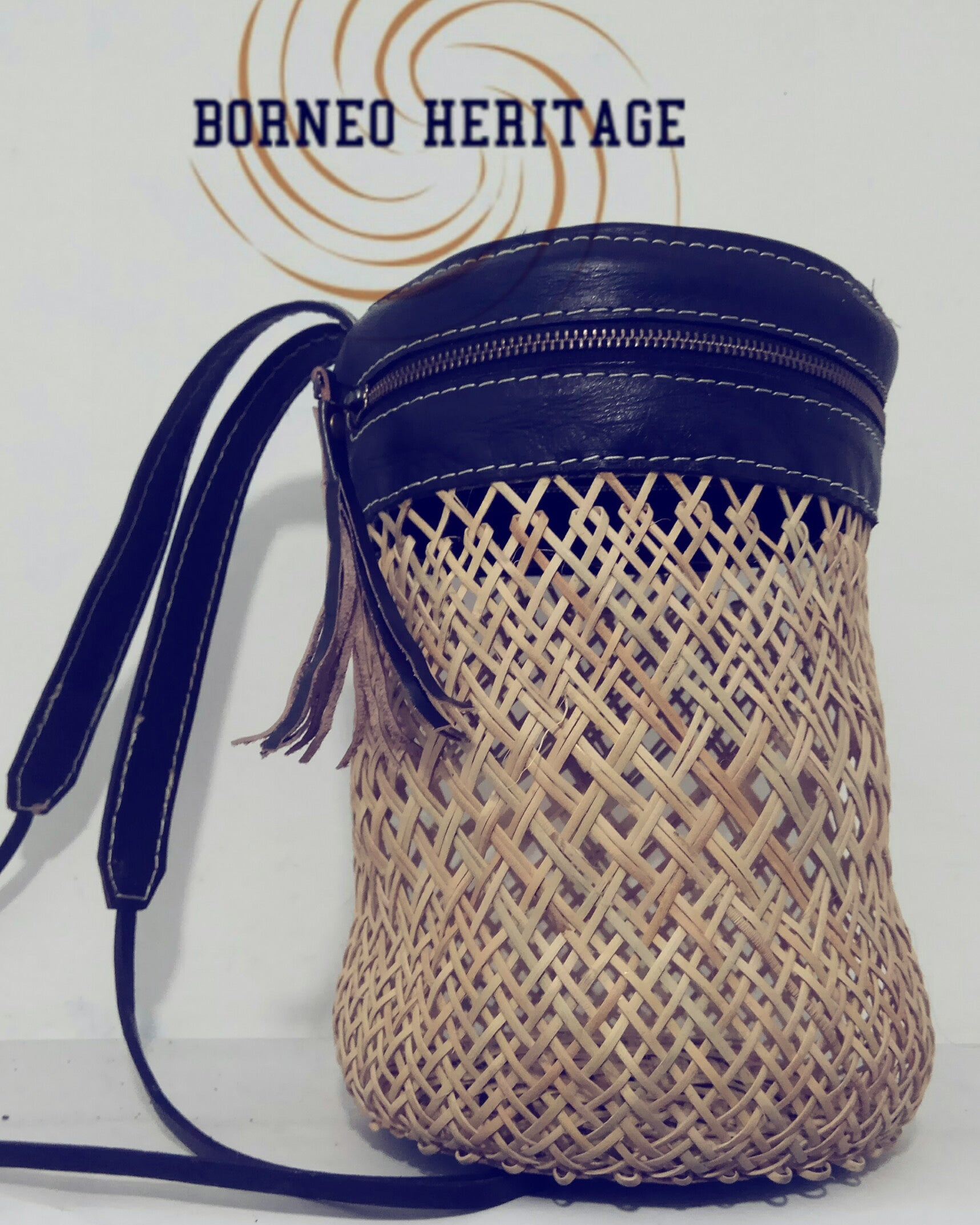 Round Rattan Leather Backpack