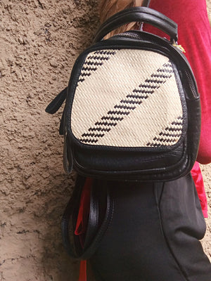 Leather Rattan Mini Backpack