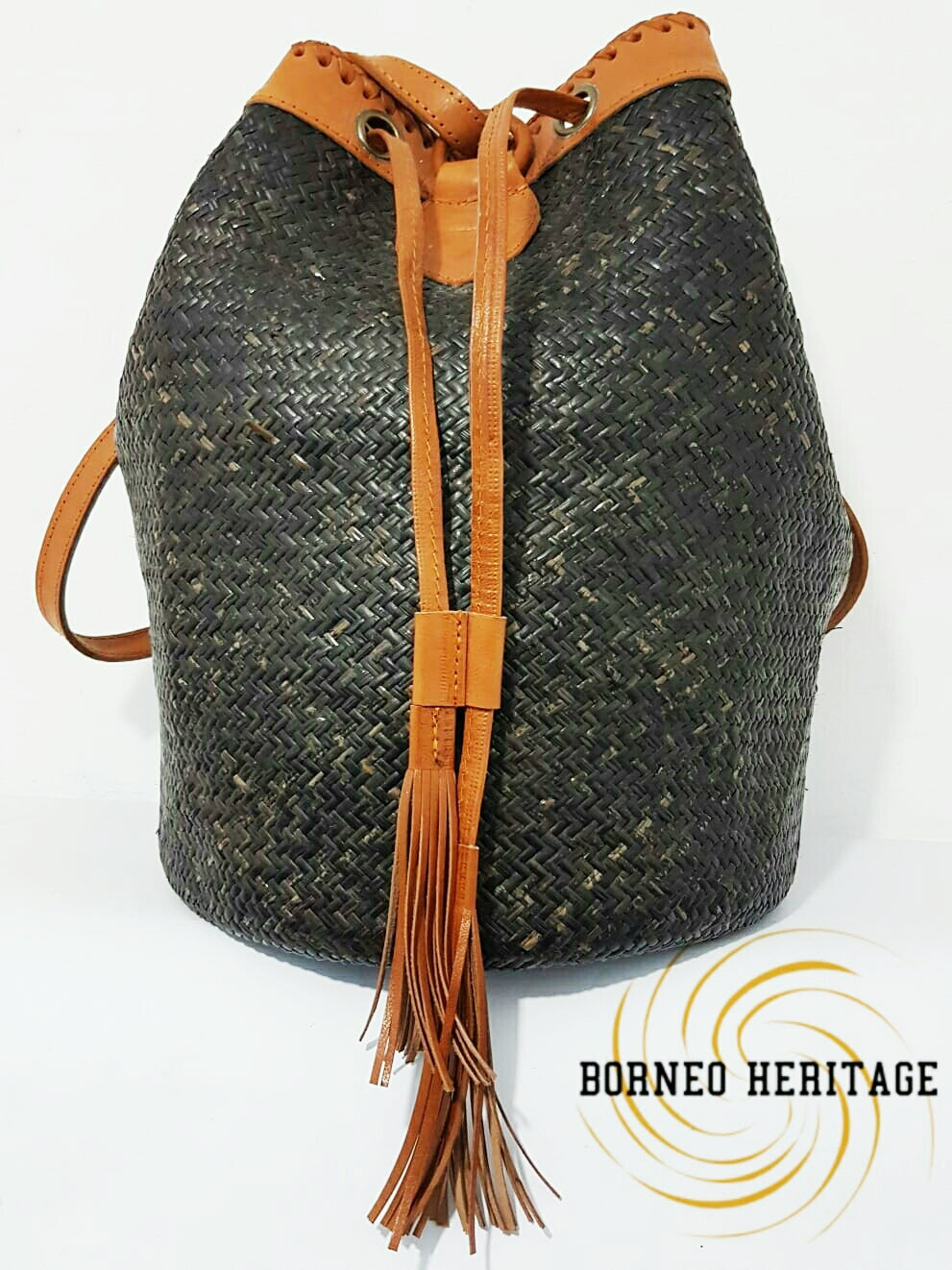 Black Rattan Backpack