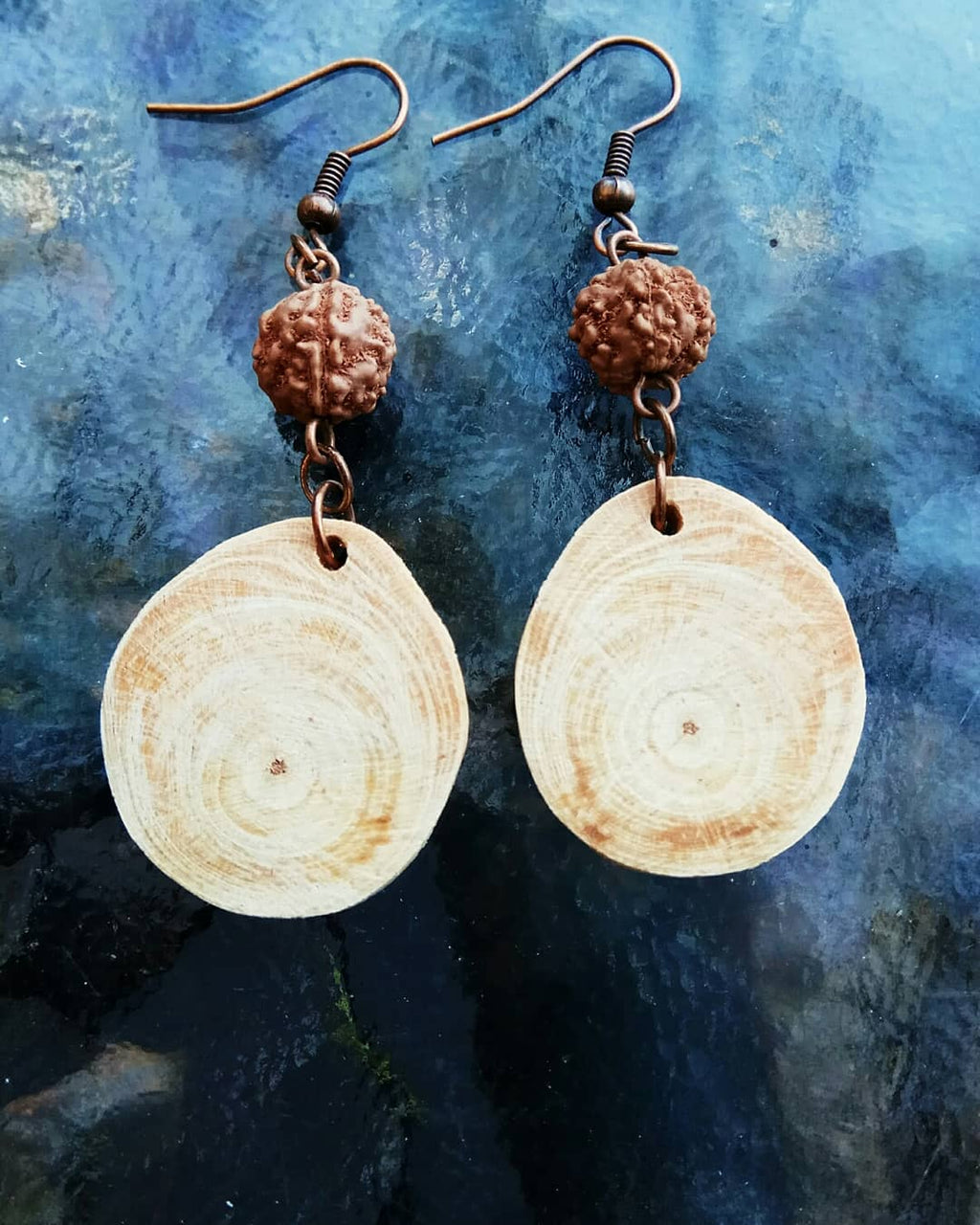 Wooden Earrings mix Rudraksha