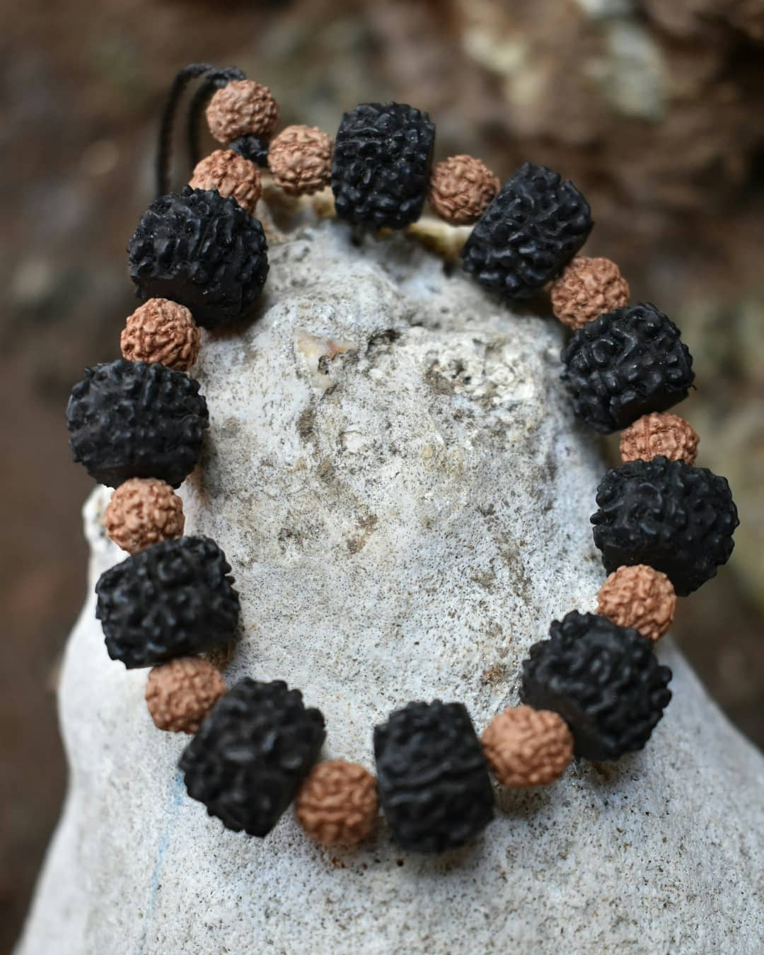 Black Brown Rudraksha Bracelet