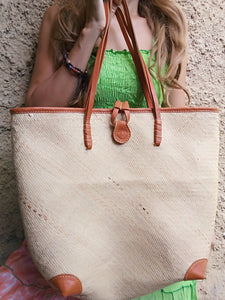 Rattan Shoulder Bag Leather