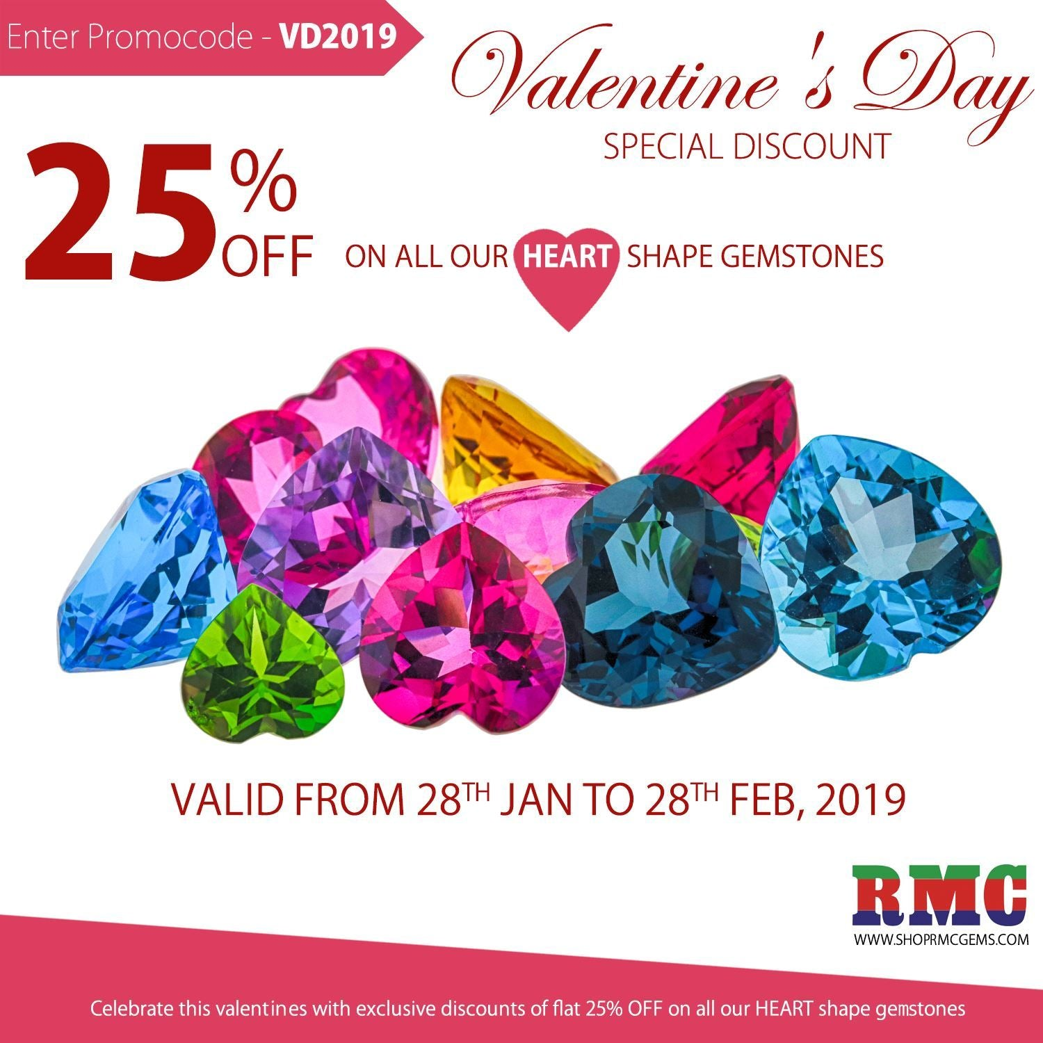 25% Off On All Our Heart Shape Gemstones On This Valentine's Day!