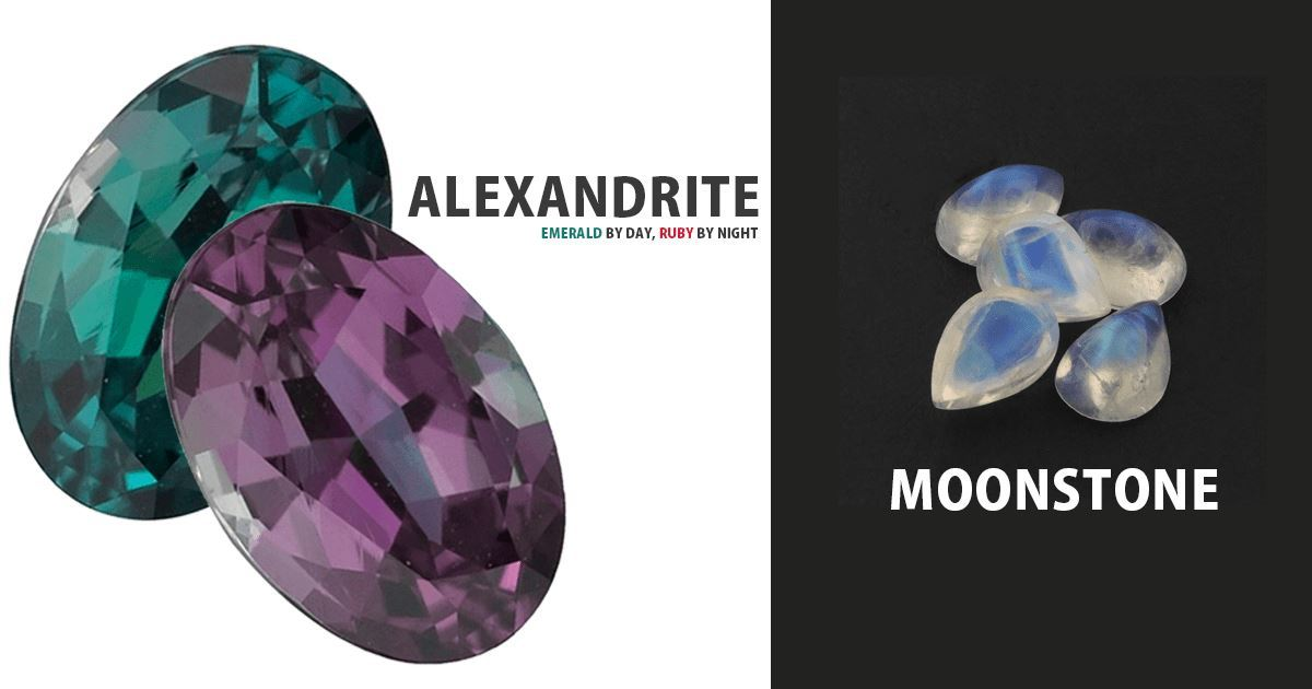 JUNE BIRTHSTONE : Alexandrite & Moonstone