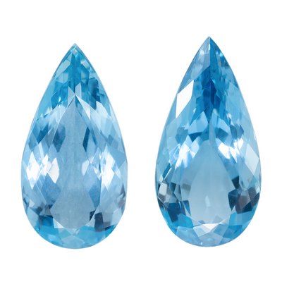 14.75 CTS  Sparkling Natural Aquamarine  Pair 20.3X10 MM Pears - shoprmcgems