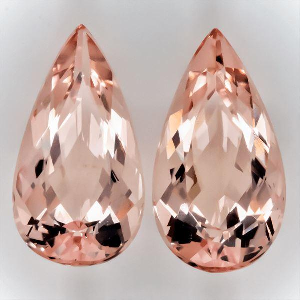 Details about  /1.98 CT Natural Pink Morganite  8x6MM Top Quality Pear Pair