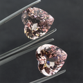 Sparkling Natural PINK MORGANITE PAIR of 22.21 CT 15 MM Heart - shoprmcgems