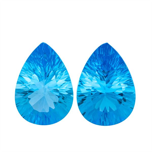 Matched Pair of Swiss Blue Topaz 10.80ct 14X10mm Pear - shoprmcgems