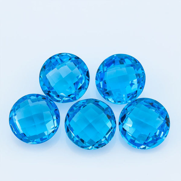 Swiss Blue Topaz 44.20 CT 12 MM Round - shoprmcgems