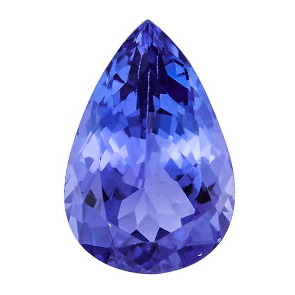 8-inch Tanzanite AAA quality faceted pear shape size 6.5-13mm 126cts