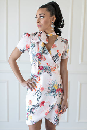 Silvia Pink Floral Wrap Dress - IZABELLA + EVE