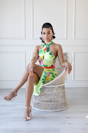 Laguna Floral Halter Dress - IZABELLA + EVE