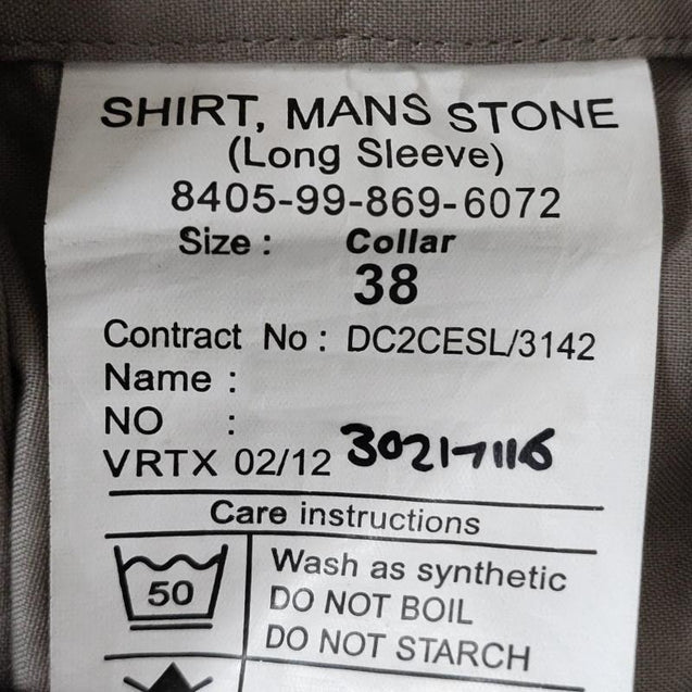 British Army Long Sleeve Stone Shirt