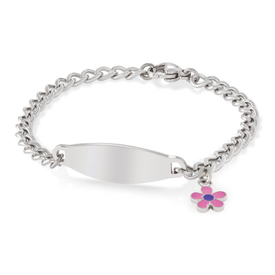 My First ID Bracelet with Plaque and Flower Charm Silver Tone
