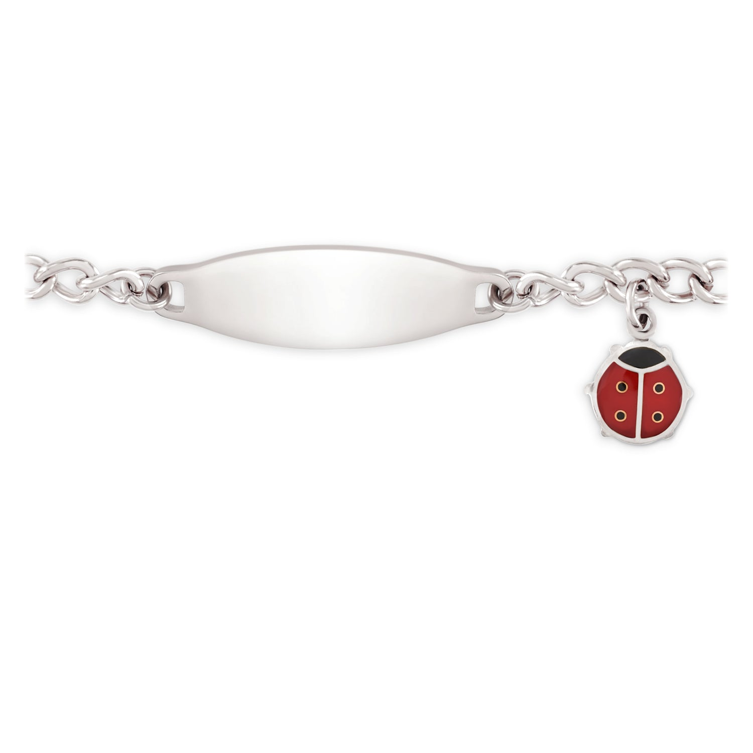 af31a927d Children's My First ID Bracelet, Polished Plaque And Lady Bug Charm ...