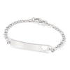 My First ID Bracelet with Cut Out Heart Plaque Silver Tone