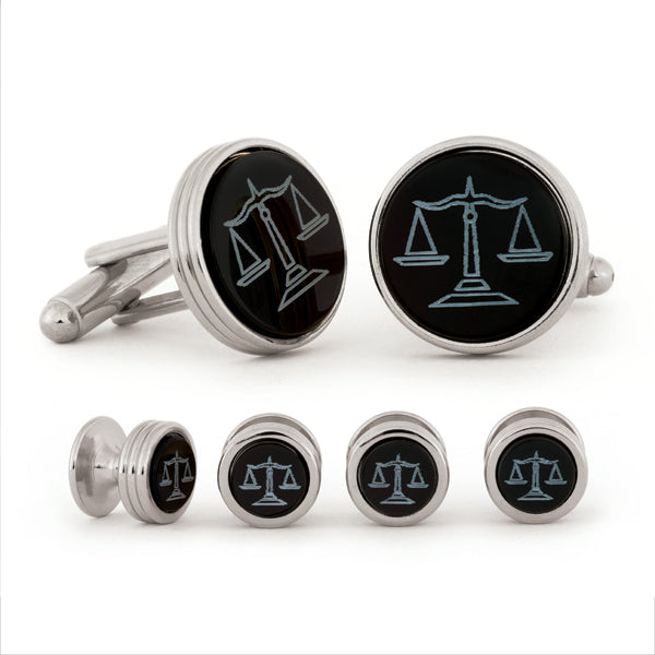 Scales of Justice Cuff Link & Stud Set