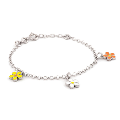 Sterling Silver Bracelet with Multi Colored Flower Charms