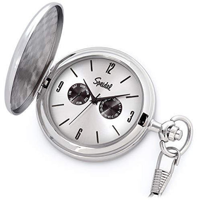 Classic Brushed Satin Pocket Watch Collection with Day & Date Sub-Dials