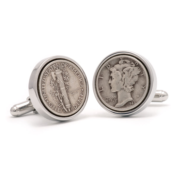 Sterling Silver Mercury Dime Cuff Links