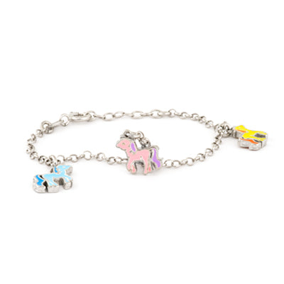 Sterling Silver Bracelet with Multi Colored Pony Accents