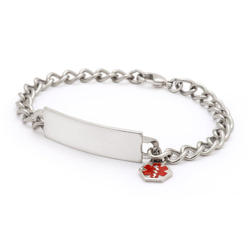 Childrens Medilog ID Stainless Steel Bracelet and Plaque with Dangling Charm