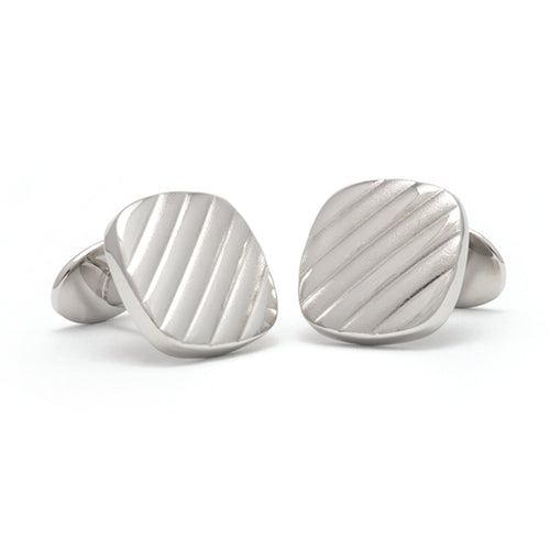 Sterling Silver Diagonal Striped Cuff Links