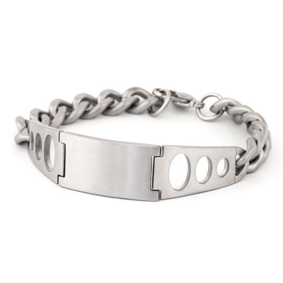 Men's Stainless Steel ID w/ Round Cutouts