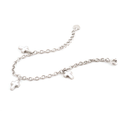 Sterling Silver Bracelet with Three Cross Charms