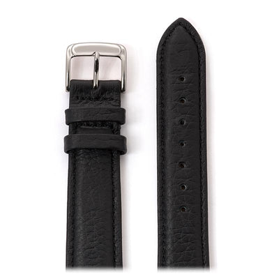 Men's Cowhide Stitched Leather Watchband in Black and Brown