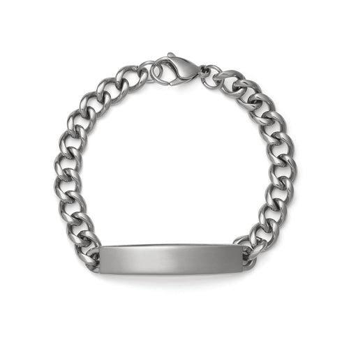 Men's Diamond Cut ID Bracelet with Brushed Finish Plaque Silver Tone