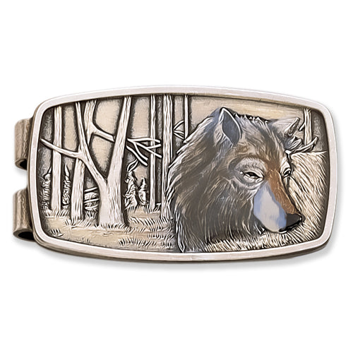 Enamel Wolf Money Clip