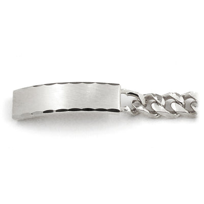 Men's ID Bracelet with Faceted Edge Brushed Plaque Silver & Gold Tone