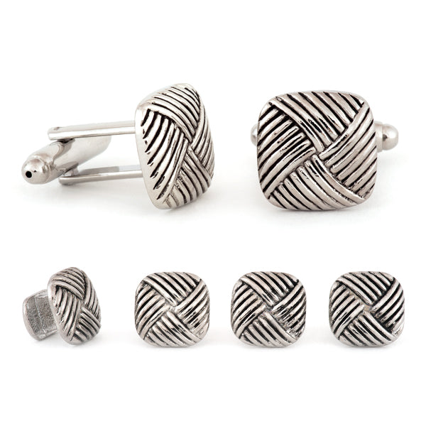 Square Diagonal Weave Cuff Links & Studs Set