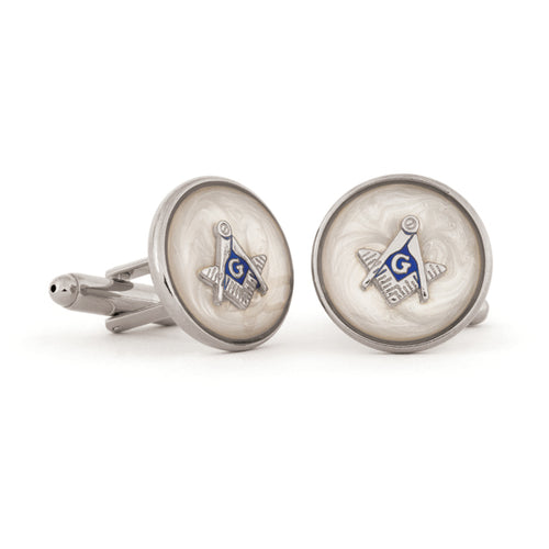 Mop Swirl Masonic Cuff Links