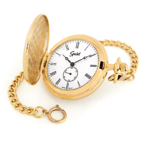 "Speidel Classic Smooth Pocket Watch with 14"" Chain, Gold Tone with White Dial in Gift Box, Engravable"