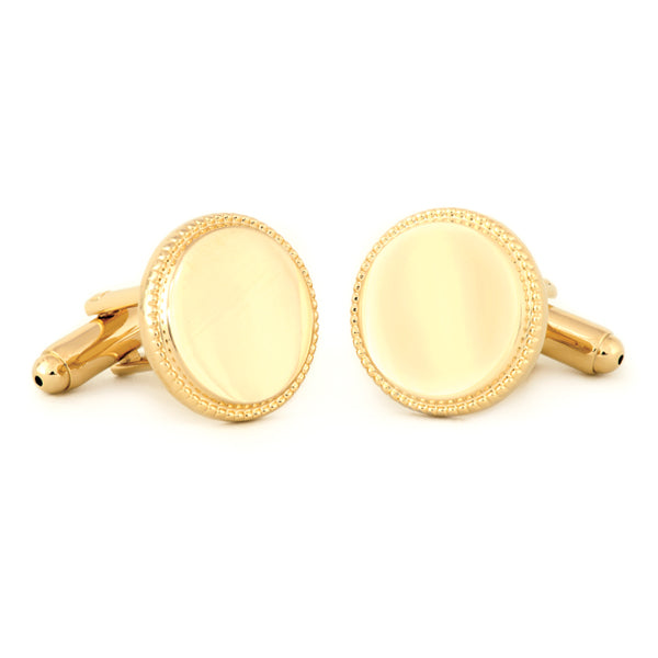 Round Beaded Edge Cuff Links
