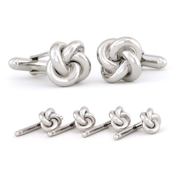 Sterling Silver Love Knot Cuff Link & Stud Set