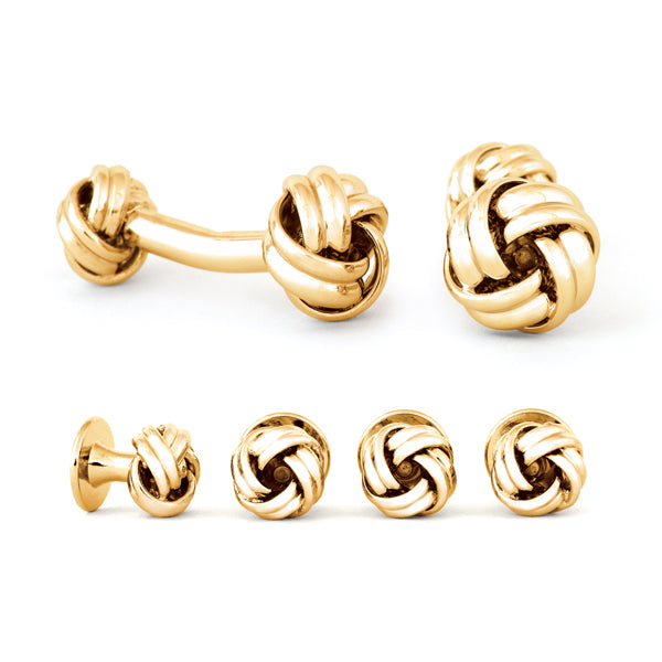 Double Ended Love Knot Cuff Links & Stud Set