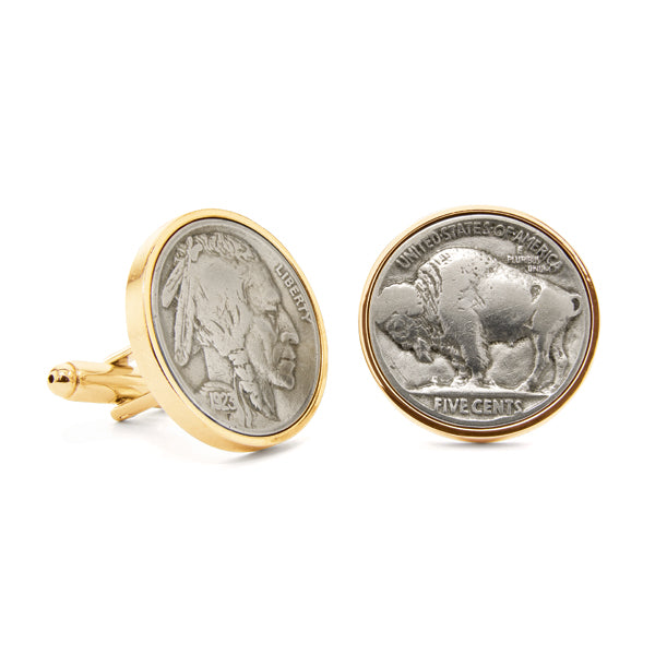 Indian Head & Buffalo Nickel Cuff Links Gold-Tone
