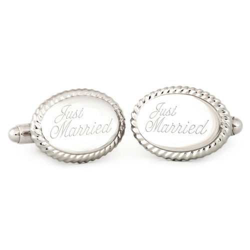 "Oval Beaded Edge Cuff Links w/ ""Just Married"" Engraving"