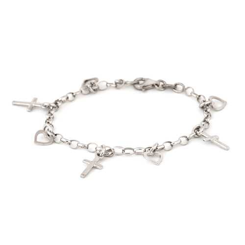 Sterling Silver Bracelet with Heart and Cross Charms