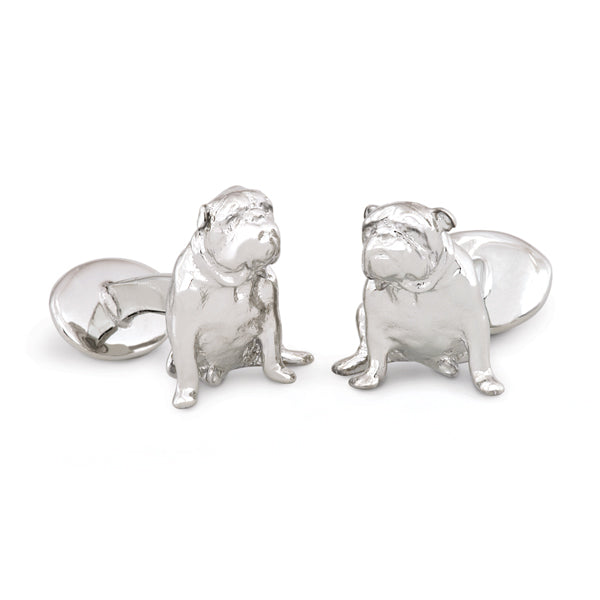 Sterling Silver Bull Dog Cuff Links