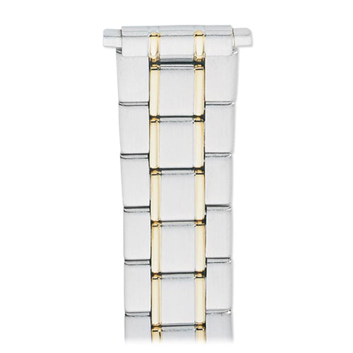 Men's 18-22MM Wrapped Link Straight Adjustable End with Removable Links for Sizing in Silver, Gold and Dual Tone