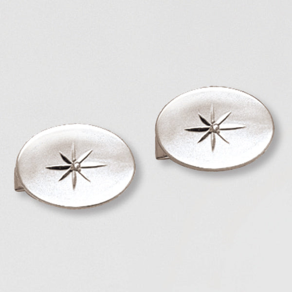 Oval Cuff Links w/ 1pt Diamond