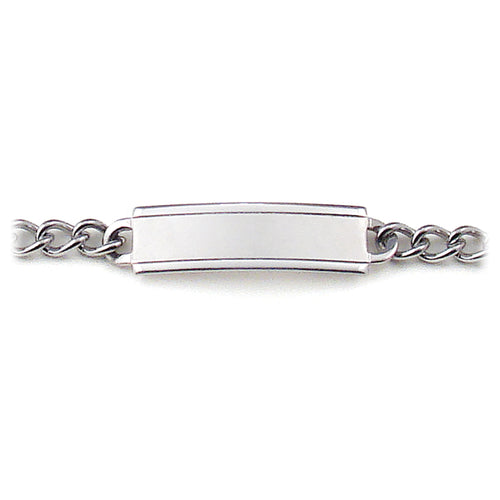My First ID Stainless Steel Bracelet and Plaque Silver Tone